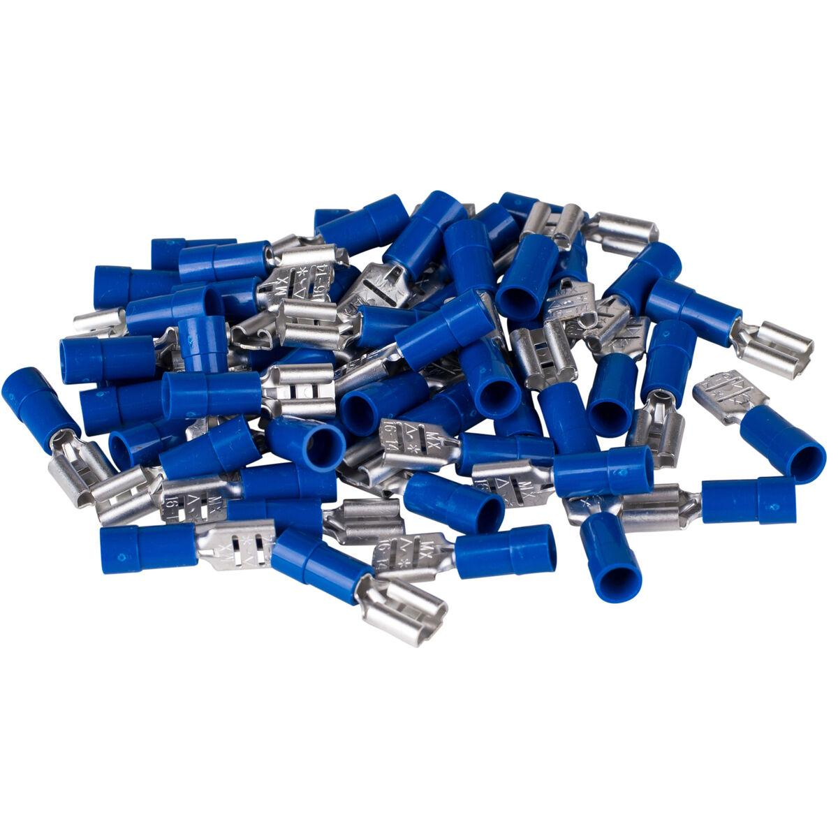 50 Non Insulated Female Flag Terminal Connectors 22-18 Wire AWG .250 Tab Molex for sale online