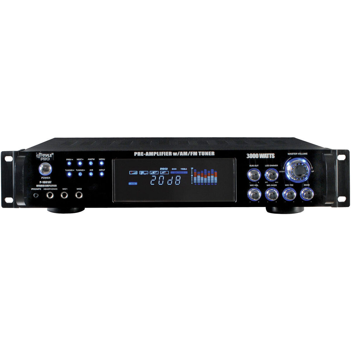 Pyle P3001at 3000w Amplifier With Preamp Am Fm Tuner