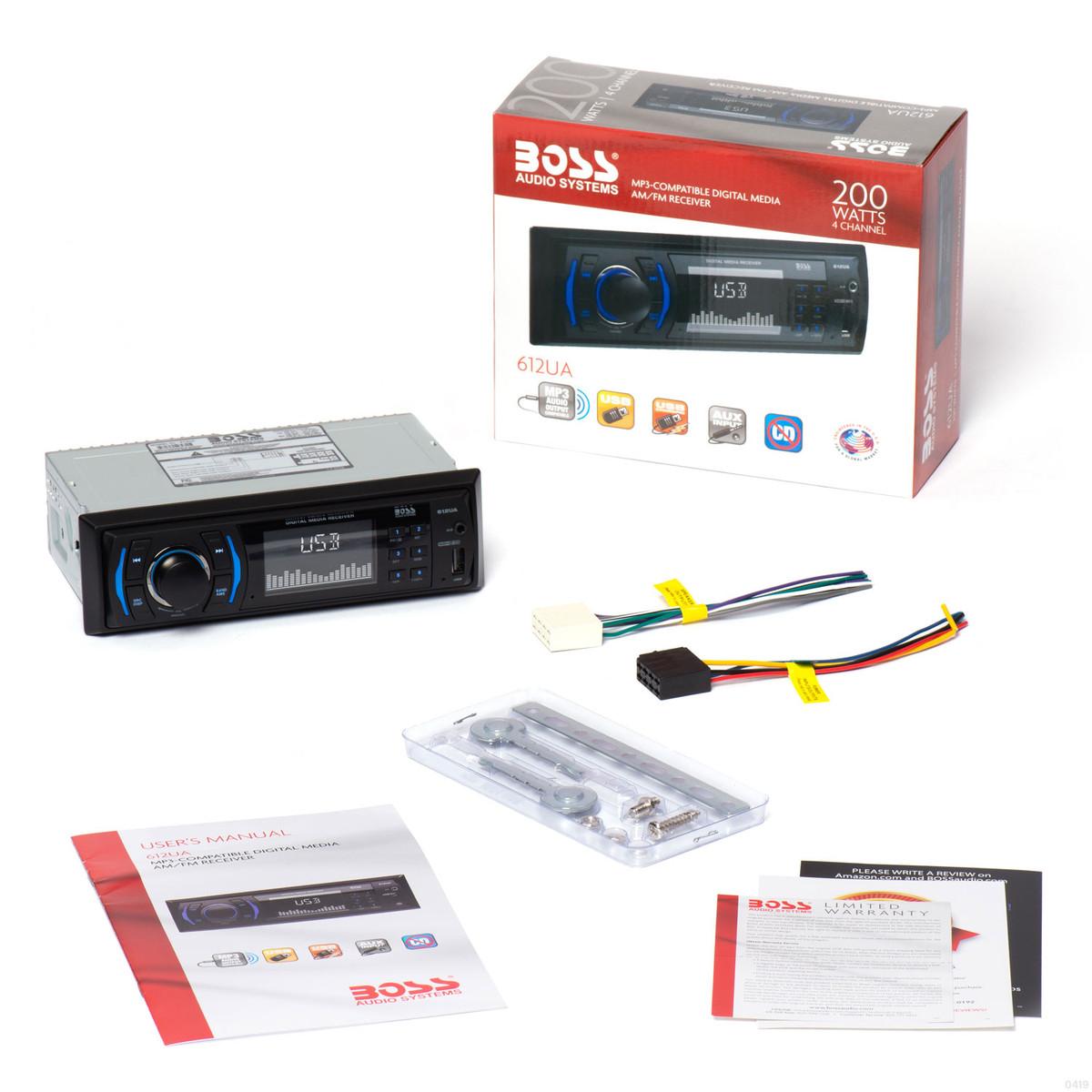 BOSS 612UA Mechless AM/FM MP3 Digital Media Car Stereo Receiver 50W x 4Parts Express