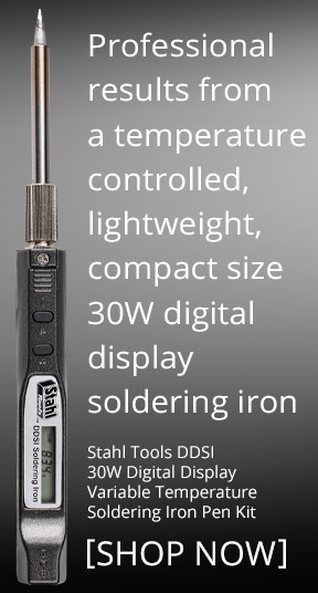 Professional results from a temperature controlled, lightweight, compact size 30W digital display soldering iron. Stahl Tools DDSI 30W Digital Display Variable Temperature Soldering Iron Pen Kit -- SHOP NOW