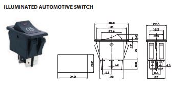 dpst rocker switch with red illuminated indicator 12 vdc 35a. Black Bedroom Furniture Sets. Home Design Ideas