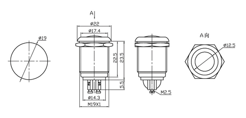 momentary n o  metal recessed push button switch