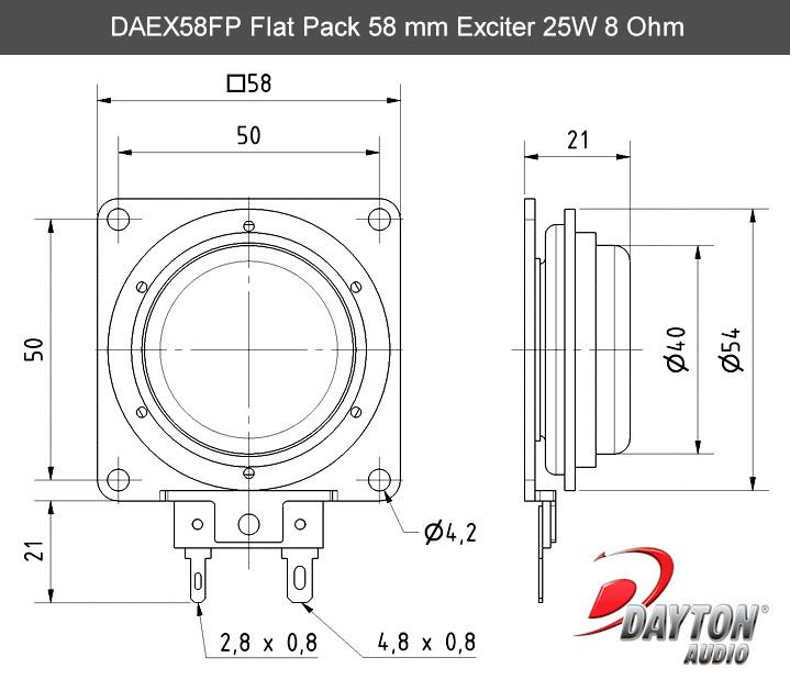 Dayton Audio Daex58fp Flat Pack 58mm Exciter 25w 8 Ohm